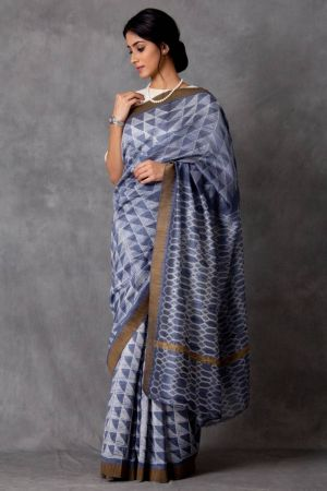 Zrika Shibori Chanderi Saree (with Blouse)